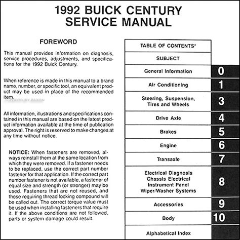 1992 buick century repair shop manual original