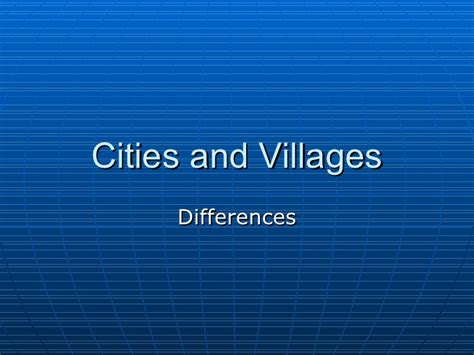 Essay On Difference Between And City In Urdu by Cities And Villages