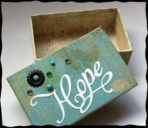 decorate box with scrapbook paper and embellishments
