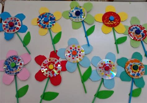 craft projects with cd flower craft ideas 1 171 preschool and homeschool