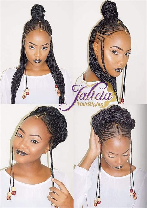 black kids plaited lines styles straightup side front braids pinterest hair style