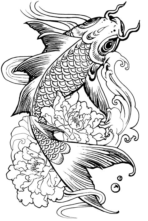 Complicated Fish Coloring Pages | complex fish carp animals coloring pages for adults