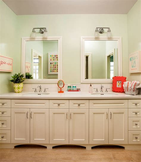 Mirrored subway tile backsplash bathroom transitional with mirror open shelf rounded