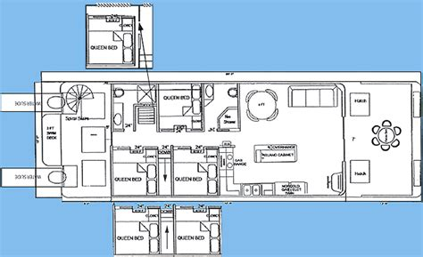 operating room floor plan 18 x 61 houseboat with 6 queen state rooms 2 bathrooms