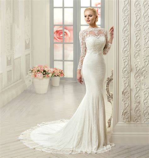 popular long sleeve mermaid wedding dress buy cheap long