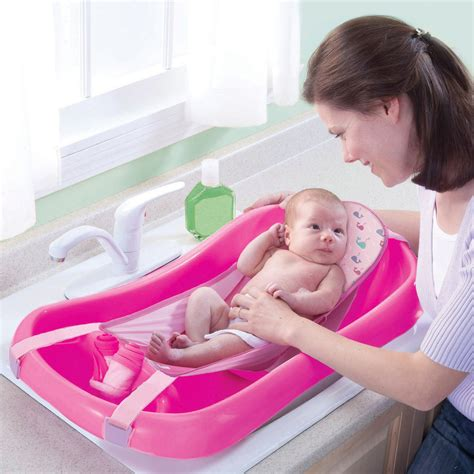 first years baby bathtub the first years sure comfort deluxe newborn to toddler tub pink baby bath seat 689854400824 ebay