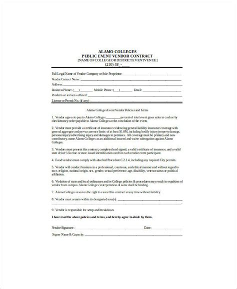 event vendor contract template sle contract agreement 30 exles in word pdf