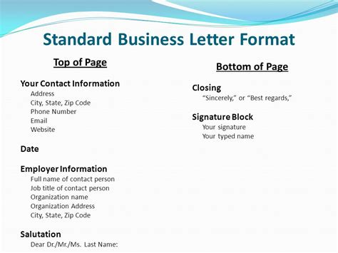 Business Letter Format Page Numbers Ocn 750 Class 11 March 20 Cover Letters Ppt