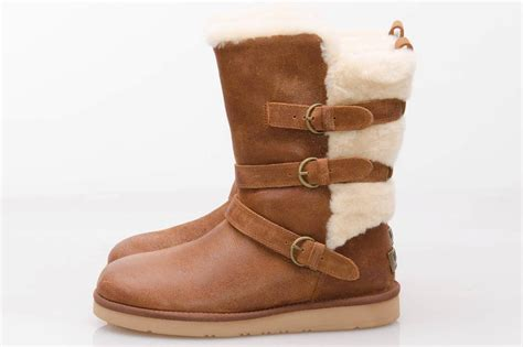 ugg becket brown leather sheepskin buckle winter boots