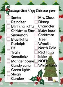 free printable holiday scavenger list