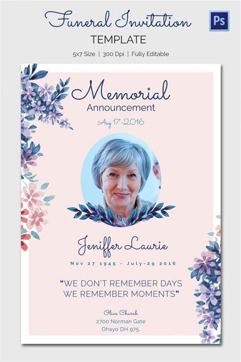 Free Template Funeral Cards by Free Funeral Template Gallery Template Design Ideas