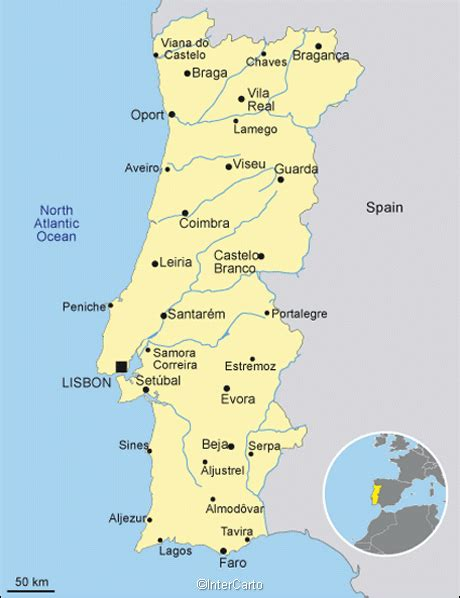 portugal map map  portugal