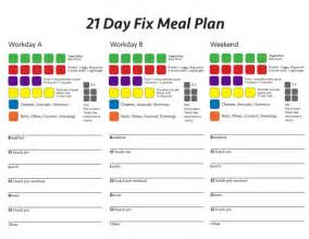 21 day fix template 21 day meal plan