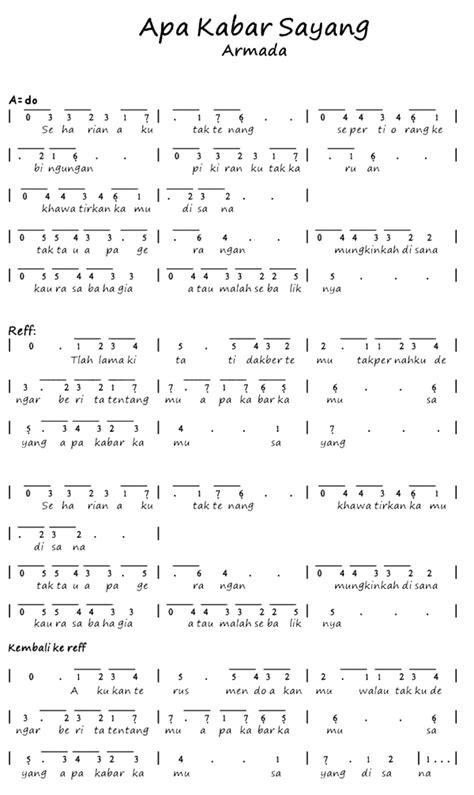 download mp3 armada sayang not angka lagu apa kabar sayang armada pianika