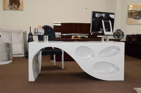 contemporary white office desk