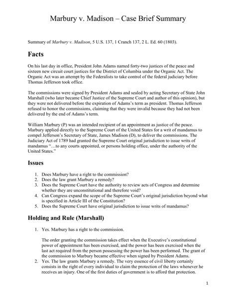 Marbury v. Madison – Case Brief Summary