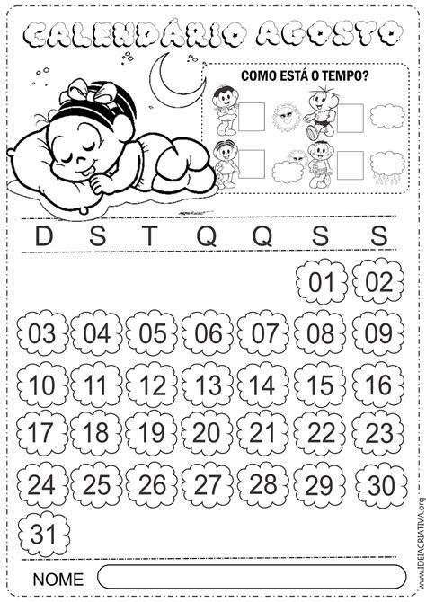 calendario agosto 2014 da stare in bianco e nero settimana calend 225 rio agosto 2014 turma da m 244 nica baby para colorir