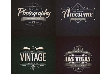 retro logo templates realistic vintage logo templates psd