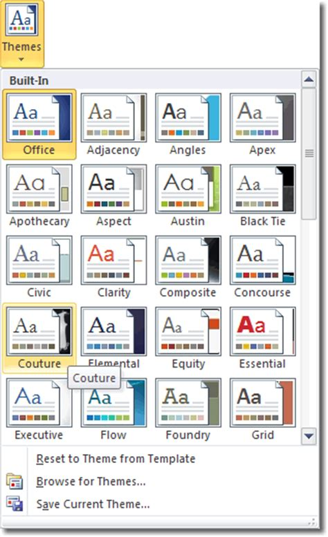 themes microsoft word 2010 what s new in word 2010