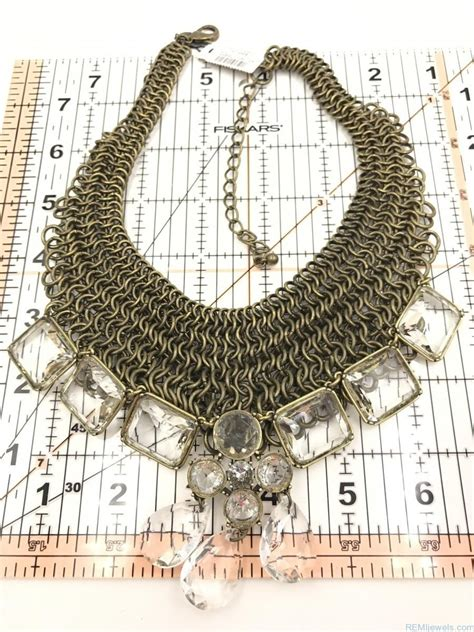 Rhinestone Multi Chain Necklace chico s ornate mesh multi chain link rhinestones
