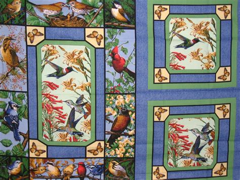 bird birds cotton quilting fabric panel  allover print