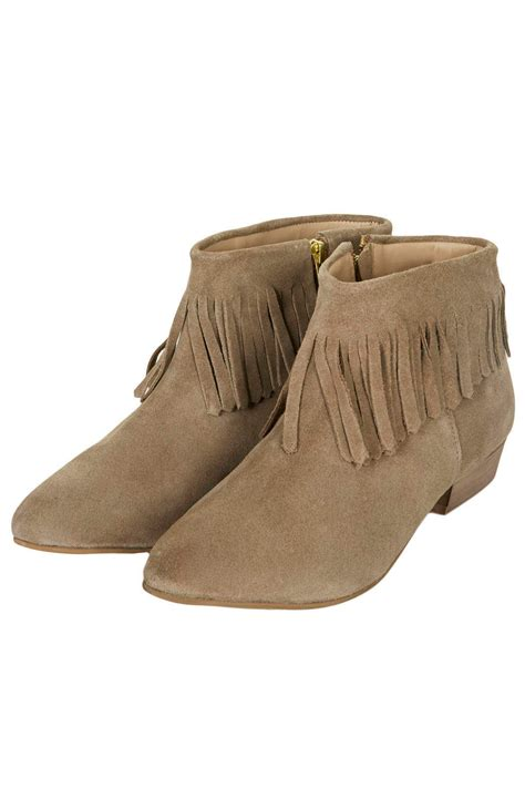 ankle boots with fringe topshop blinked fringed ankle boots in brown taupe lyst
