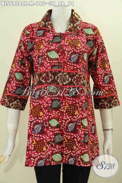 Vanmarvell Krah Polos Size M Merah jual blus batik krah plisir warna merah bahan adem desain