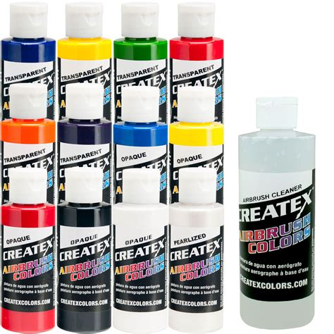12 createx colors airbrush paint set basic colors mix cups free how to book ebay