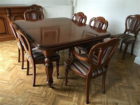 victorian style solid mahogany dining table chairs