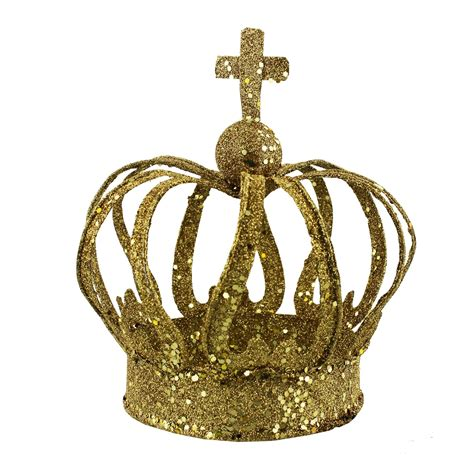 golden glitter crown christmas decoration and centerpiece
