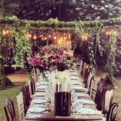 create  bohemian style outdoor dining experience