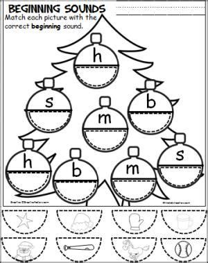 printable christmas phonics games free christmas cut and paste beginning sounds activity for