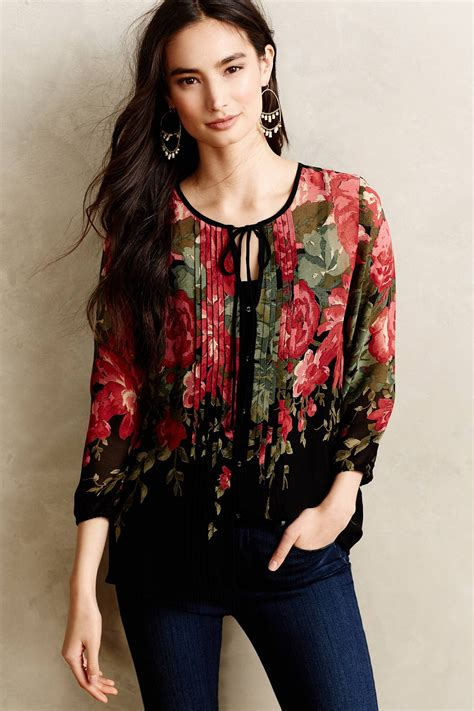 Blouse Fisherlee lyst sunday in pleated peonies blouse in