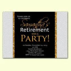 retirement farewell invitation wording with black themed plus white gold fonts
