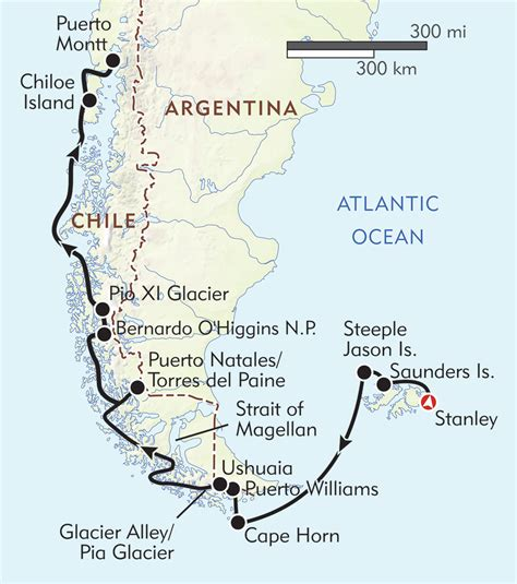 south america map cape horn wt patagonia with the falkland islands and cape horn