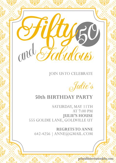 50th Birthday Invite Template Free fifty and fabulous 50th birthday invitation wedding