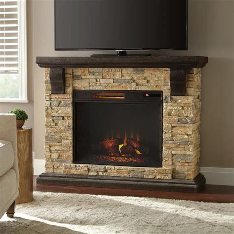 faux stone mantel electric fireplace heater tan