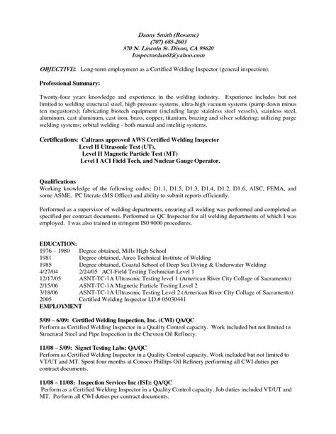 Sle Resume Objectives Welder Welder Sle Resume 28 Images Shipyard Welder Resume