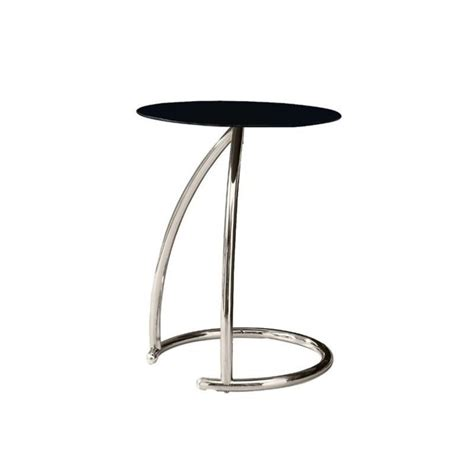 metal accent table with glass top metal accent table with black tempered glass top in chrome