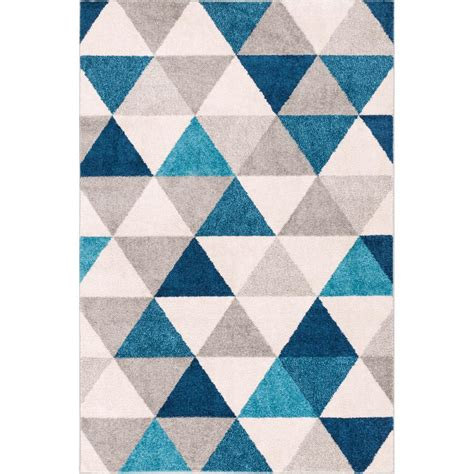 Geometric Area Rug Well Woven Mystic Alvin Blue 5 Ft X 7 Ft Modern