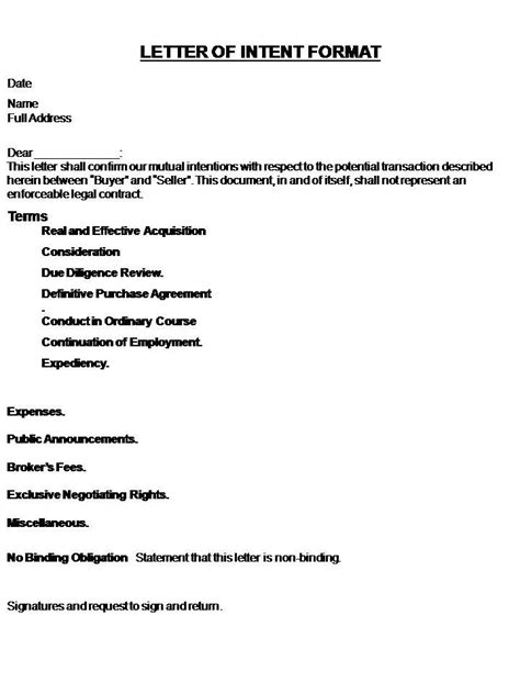 Cover Letter Contohnya Printable Sle Letter Of Intent Template Form Real Estate Forms