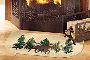 moose hearth rug cabin fireplace and wood