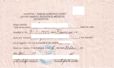 Record Of Birth Cuban Hospital Birth Records Cubacityhall