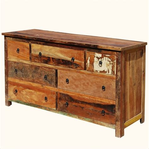 reclaimed wood dresser rustic reclaimed wood handcrafted 7 drawer dresser