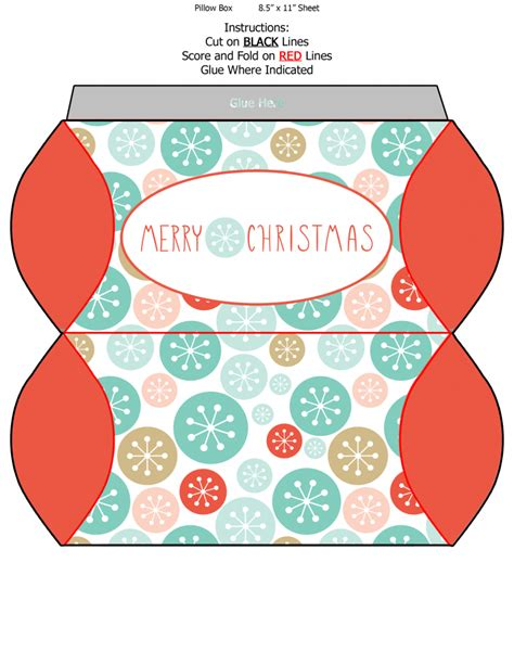 printable templates for christmas gift boxes free printable christmas pillow boxes frugal mom eh