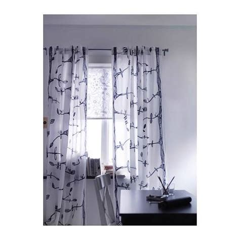 ikea curtains leaves ikea curtain pair white black 2 panels semi sheer leaf