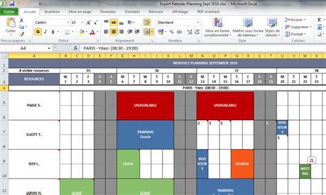Modèle Planning Hebdomadaire Excel planification d entreprise netside planning