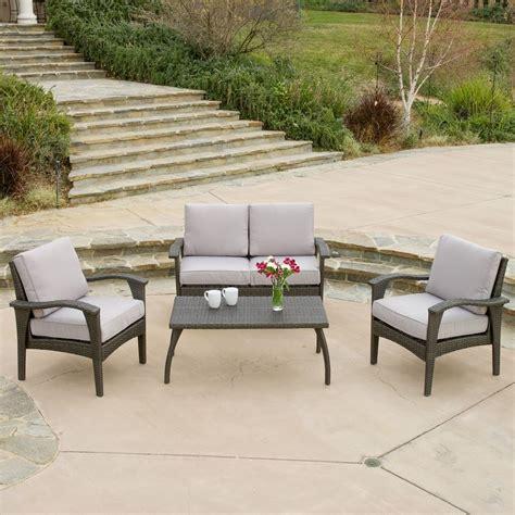 Outdoor Patio Furniture Grey Wicker Luxury 4pc Sofa