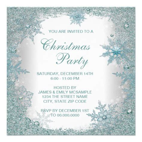 free template invitation card snowflakes invitations