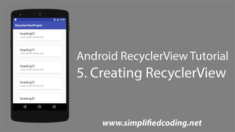 android tutorial youtube playlist 5 android recyclerview tutorial creating recyclerview